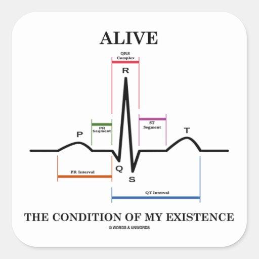 生きた|条件|私|存在|(ECG/EKG) 正方形シールステッカー