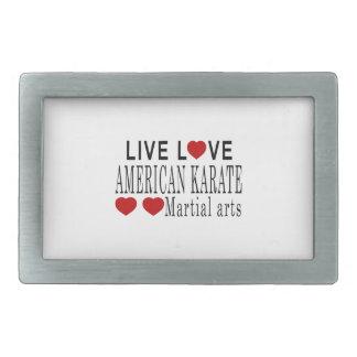 生きている愛アメリカの空手の武道 長方形ベルトバックル