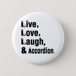 生きている愛笑いおよびアコーディオン 5.7CM 丸型バッジ