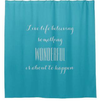 生きている生命は好みます: ティール(緑がかった色)の青いシャワー・カーテン シャワーカーテン