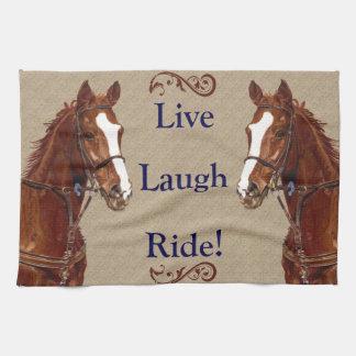 生きている笑いの乗車! 馬 キッチンタオル