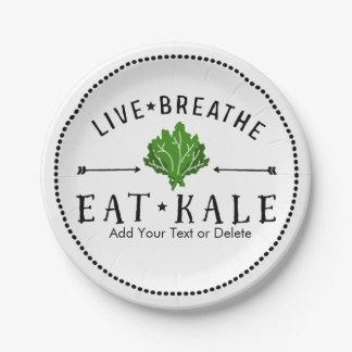 生きている緑葉カンラン愛は食べます緑葉カンランのカスタムを呼吸します ペーパープレート スモール