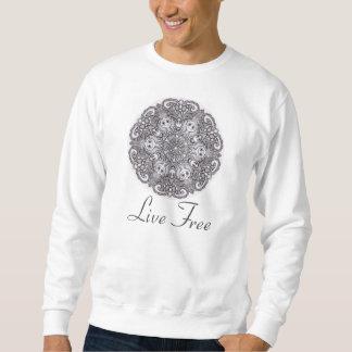 """""""生きている自由な"""" -曼荼羅のセーター スウェットシャツ"""
