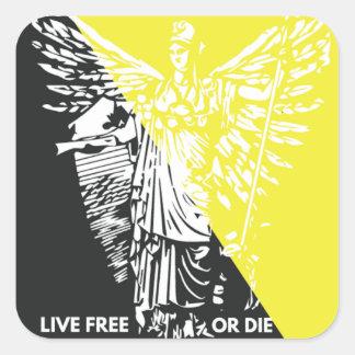 生きている自由または死にます! 自由のステッカー スクエアシール