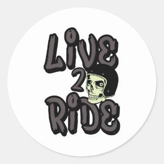 生きている|2|乗車|スカル|オートバイ|ヘルメット 丸形シール・ステッカー