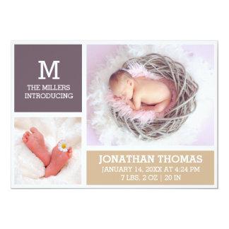 生まれたばかりのな赤ん坊の誕生の発表の写真カード 12.7 X 17.8 インビテーションカード