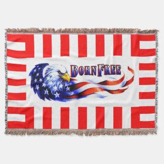 生まれる自由な白頭鷲および米国の旗 スローブランケット