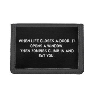 """""""生命がドアの…ゾンビ""""のナイロン財布閉める時 ナイロン三つ折りウォレット"""