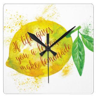 生命がレモンを与えたら、レモネードを作って下さい スクエア壁時計