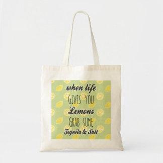 生命が与えるときレモンは引用します トートバッグ