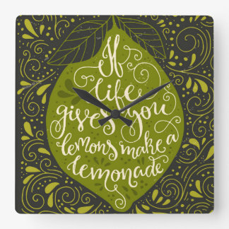 生命が与えればレモンはレモネードを作ります スクエア壁時計