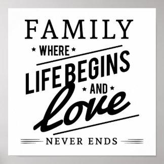 生命が始まるおよび愛決して端は引用しません家族 ポスター