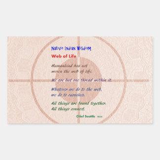 生命のくもの巣: ネイティブアメリカンの知恵 長方形シール