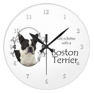 生命のよりよいボストンテリアの時計 ラージ壁時計