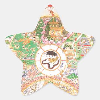生命の仏教の車輪 星シール