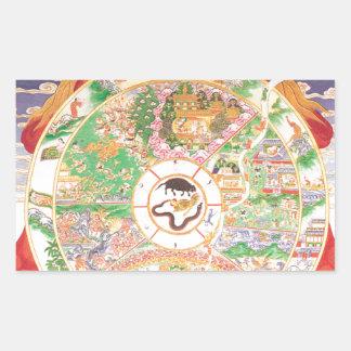 生命の仏教の車輪 長方形シール
