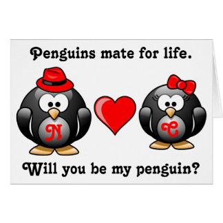 生命の仲間私のペンギンの提案愛です カード