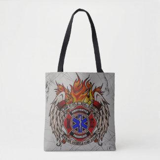 生命の呼出し: 消防士または医者の紋章 トートバッグ