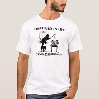 生命の幸福は掘り出し上手(猫)にあります Tシャツ