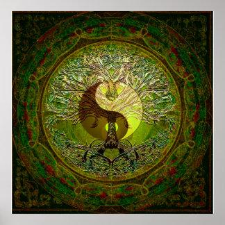 生命の樹との緑の陰陽 ポスター