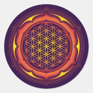 生命の花、はす、神聖な幾何学、仏教 ラウンドシール