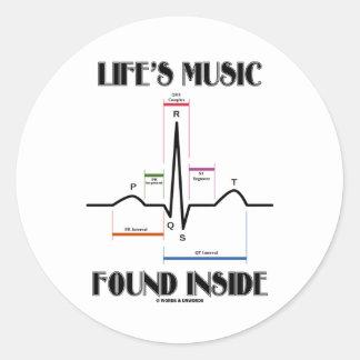 生命の音楽によって見つけられる内部(ECG/EKGの心拍) 丸形シール・ステッカー
