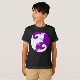生命のYingヤン猫の紫色の円はTシャツをからかいます Tシャツ