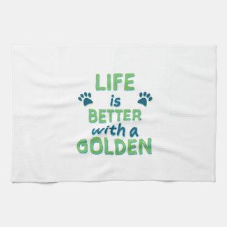 生命はよりよくゴールデン・リトリーバーです キッチンタオル