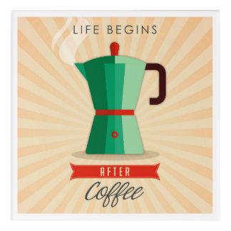 生命はコーヒーの後で始まります アクリルウォールアート