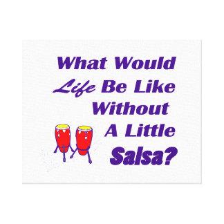 生命はサルサの紫色の文字の赤のコンガなしにのようです キャンバスプリント