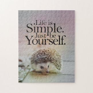 生命はシンプルでかわいいハリネズミの感動的な引用文です ジグソーパズル