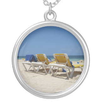 生命はビーチです シルバープレートネックレス