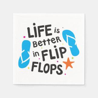 生命はビーチサンダルでよりよいです スタンダードカクテルナプキン