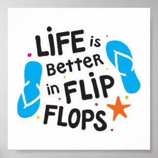 生命はビーチサンダルでよりよいです ポスター