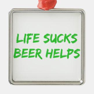 生命はビール助けを吸います メタルオーナメント