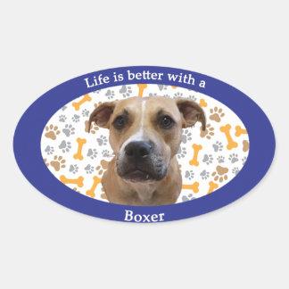 生命はボクサーとよりよいです 楕円形シール