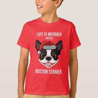 生命はボストンテリアとよりメリーです Tシャツ
