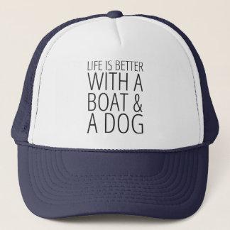 生命はボート及び犬の帽子とよりよいです キャップ