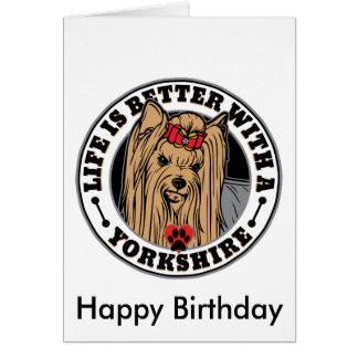 生命はヨークシャ犬の品種とよりよいです グリーティングカード