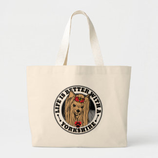 生命はヨークシャ犬の品種とよりよいです ラージトートバッグ