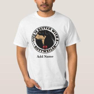 生命は名前入りなロットワイラーとよりよいです Tシャツ