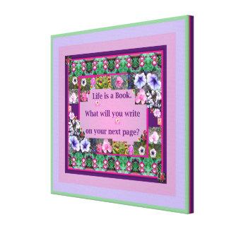 生命は小さい本の花の写真のインスピレーションです キャンバスプリント
