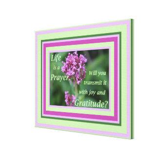 生命は小さい祈りの言葉の花の写真のインスピレーションです キャンバスプリント