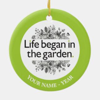 生命は庭で始まりました セラミックオーナメント
