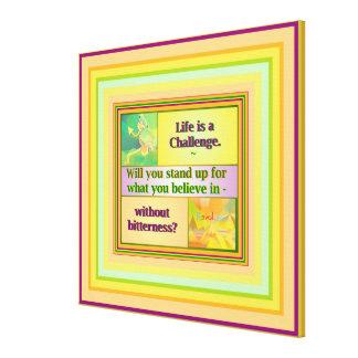 生命は挑戦インスピレーション、媒体です キャンバスプリント