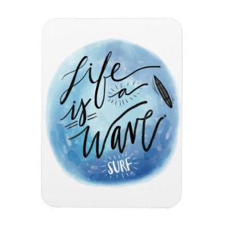 生命は波の波板水彩画のタイポグラフィです マグネット