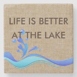 生命は湖のバーラップの大理石のコースターでよりよいです ストーンコースター