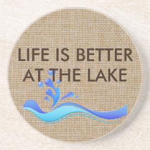 生命は湖のバーラップの石のコースターでよりよいです コースター