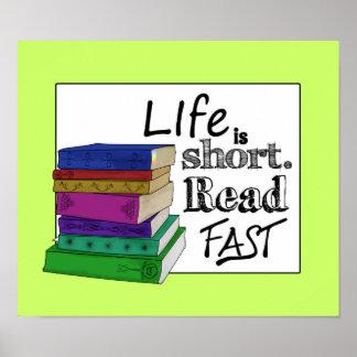 生命は短いです。 読書は絶食します ポスター