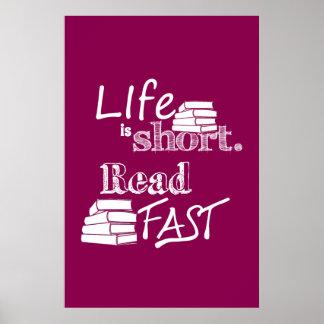生命は短いです、読書絶食します ポスター